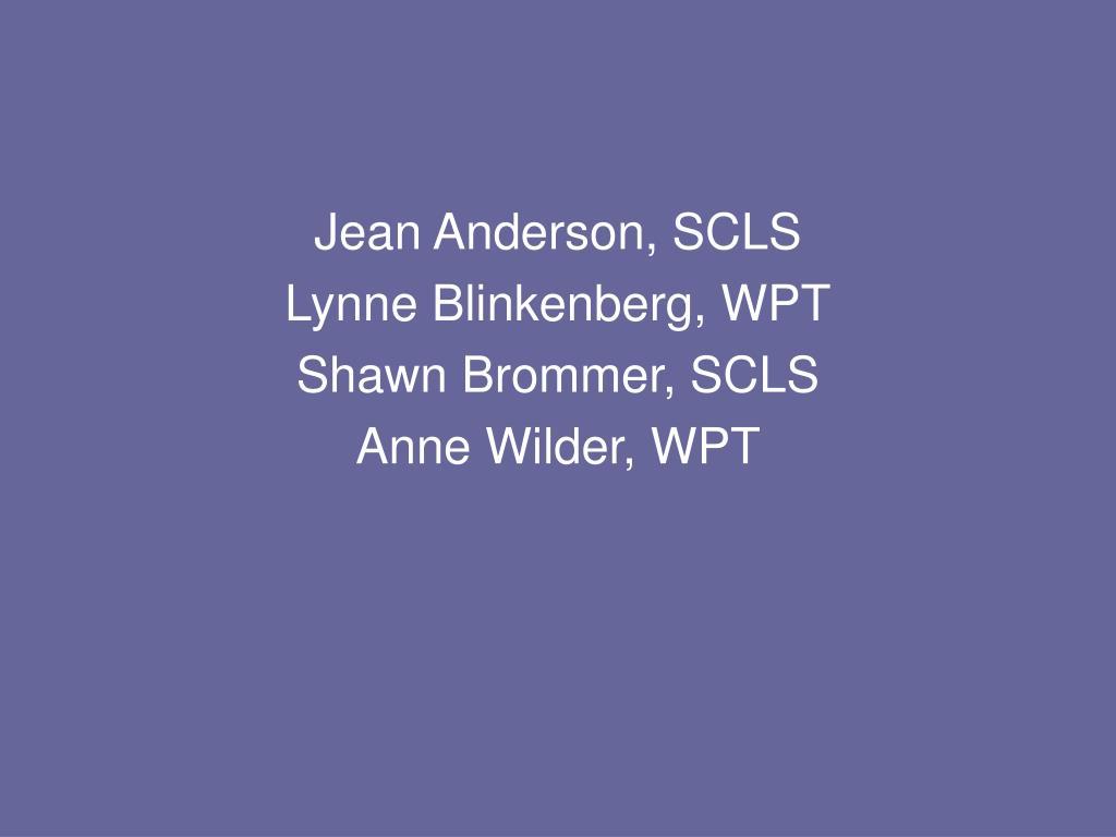 Jean Anderson, SCLS