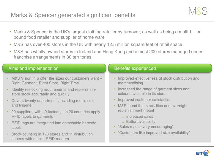 Marks & Spencer generated significant benefits