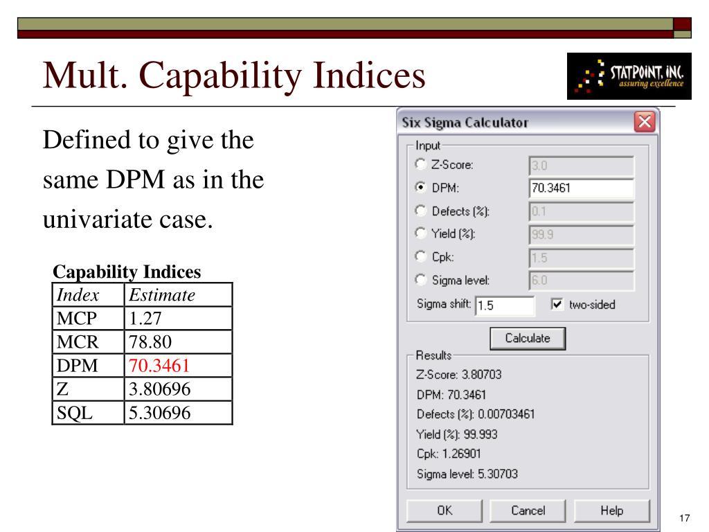 Mult. Capability Indices