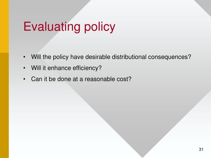 Evaluating policy