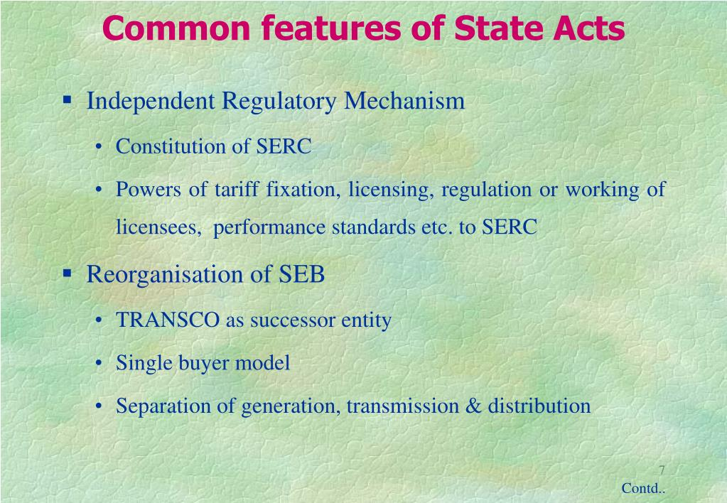 Common features of State Acts