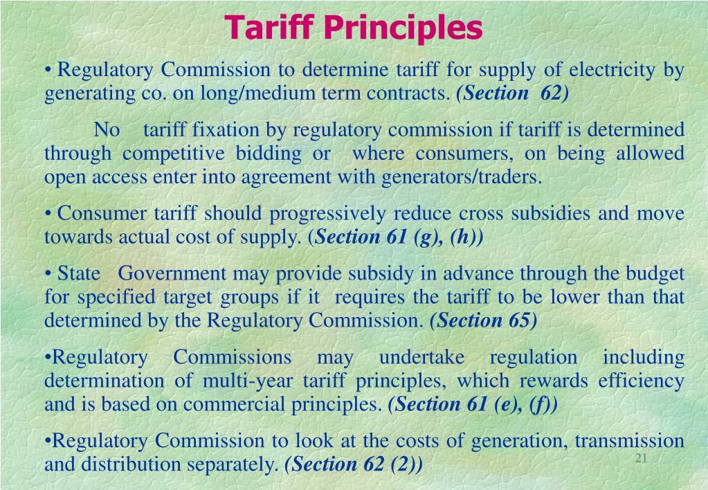 Tariff Principles