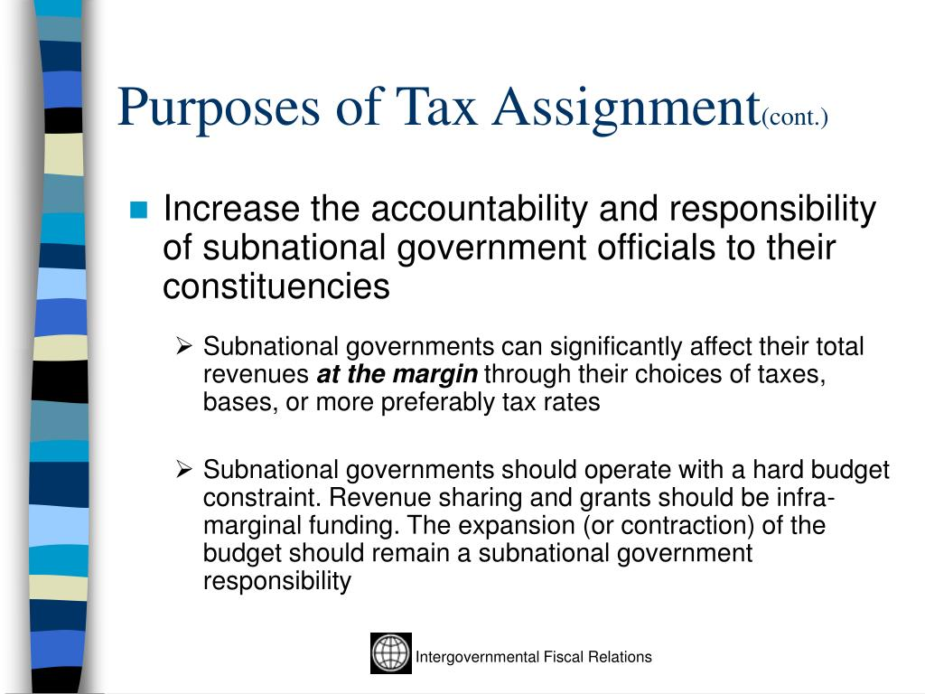 Purposes of Tax Assignment