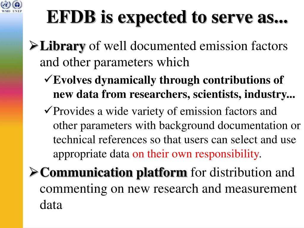 EFDB is expected to serve as...