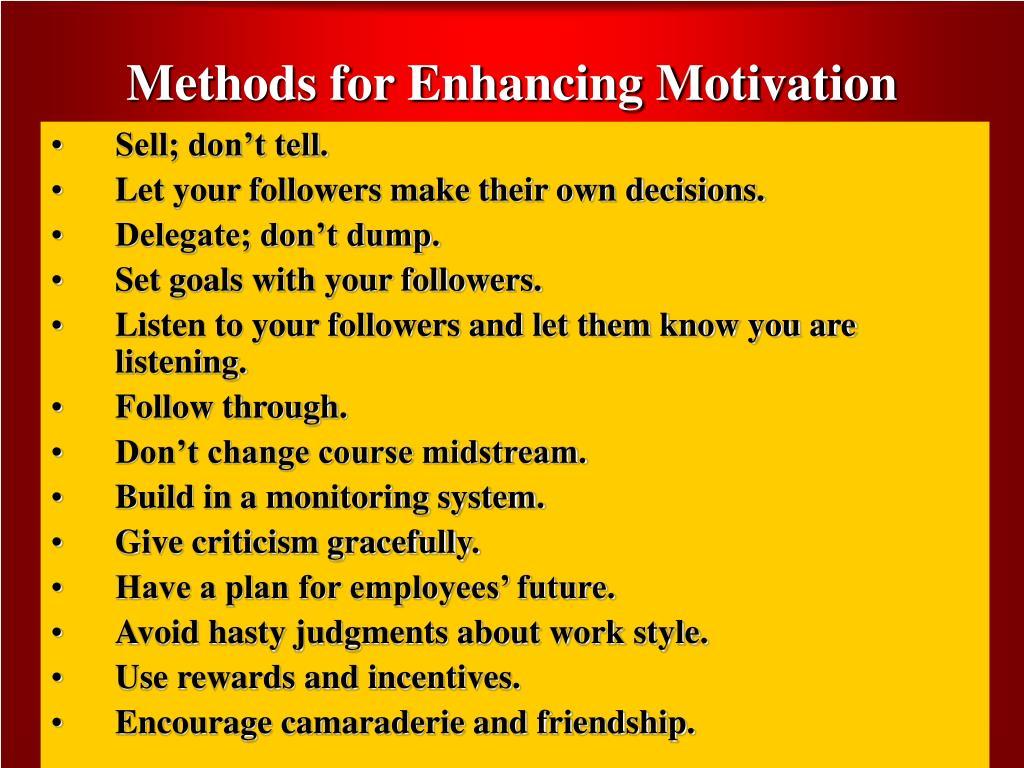 Methods for Enhancing Motivation