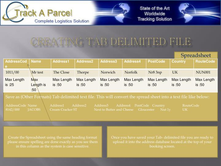 Creating tab delimited file
