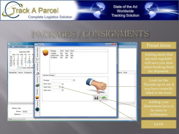 Packages / Consignments