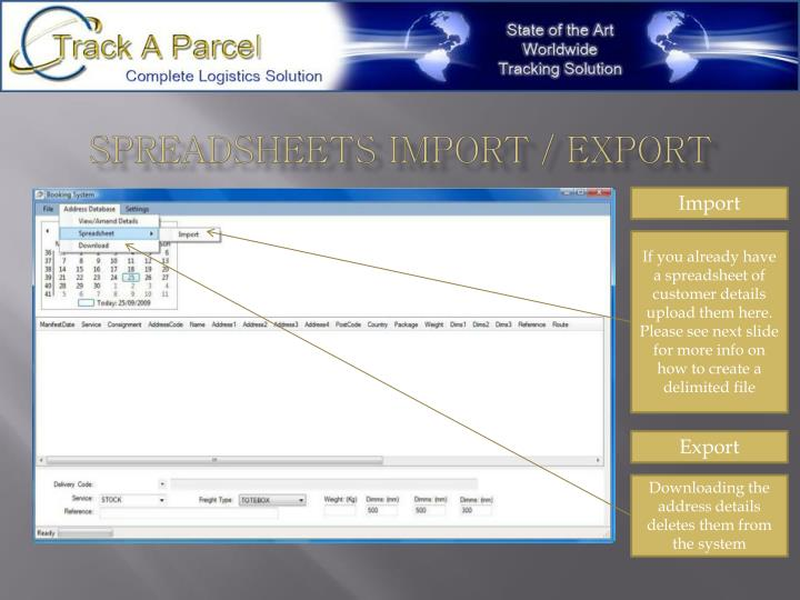 Spreadsheets import / export