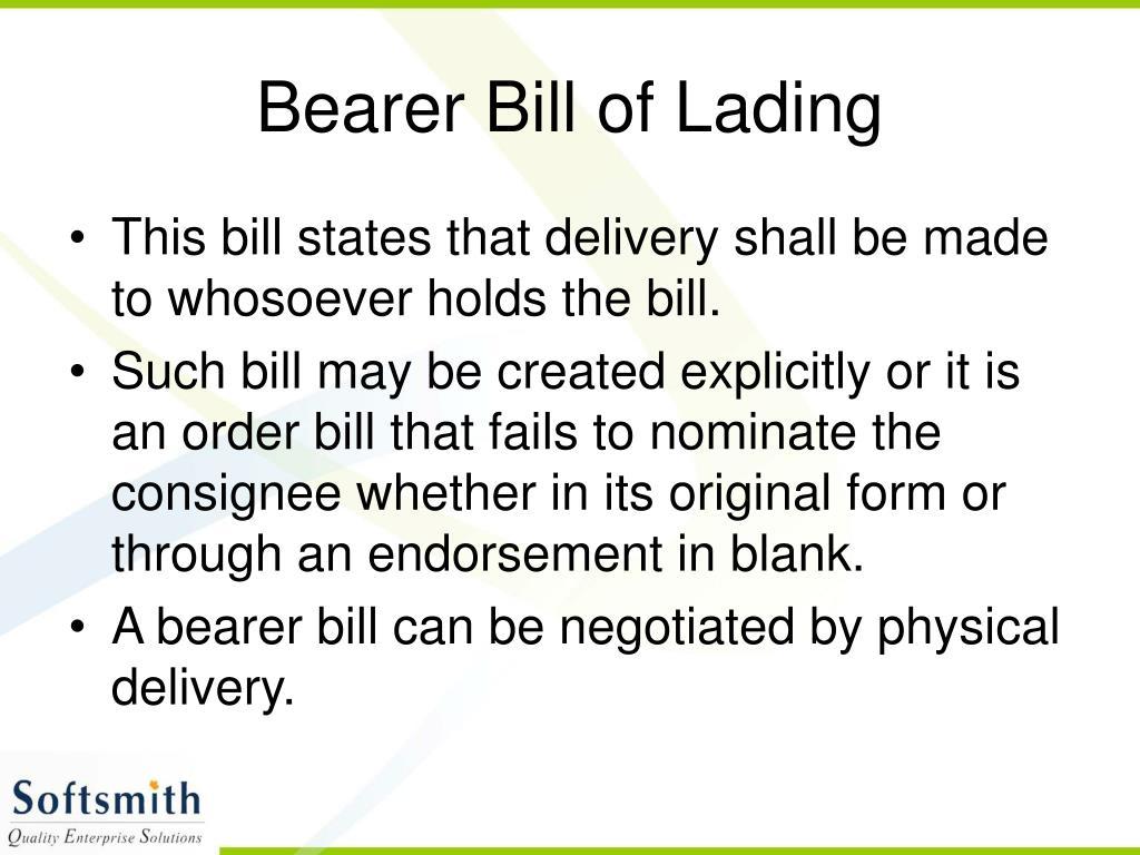 Bearer Bill of Lading