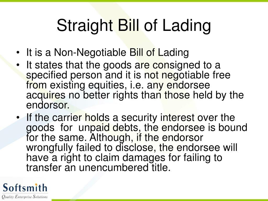 Straight Bill of Lading