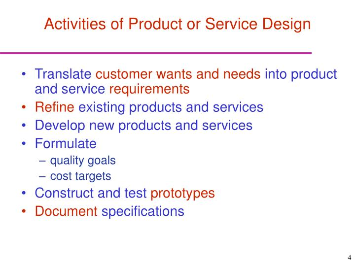 Activities of Product or Service Design