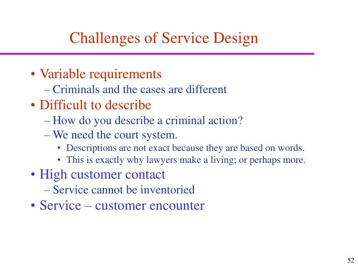 Challenges of Service Design