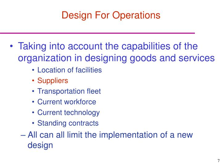 Design For Operations