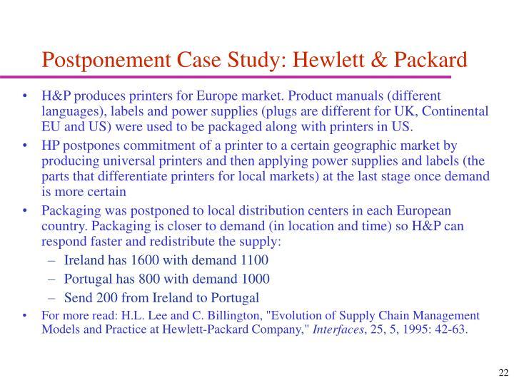 Postponement Case Study: Hewlett & Packard