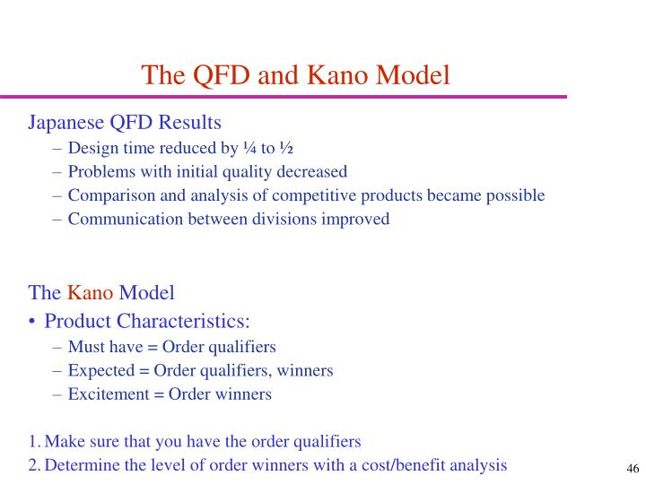 The QFD and Kano Model