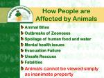 how people are affected by animals