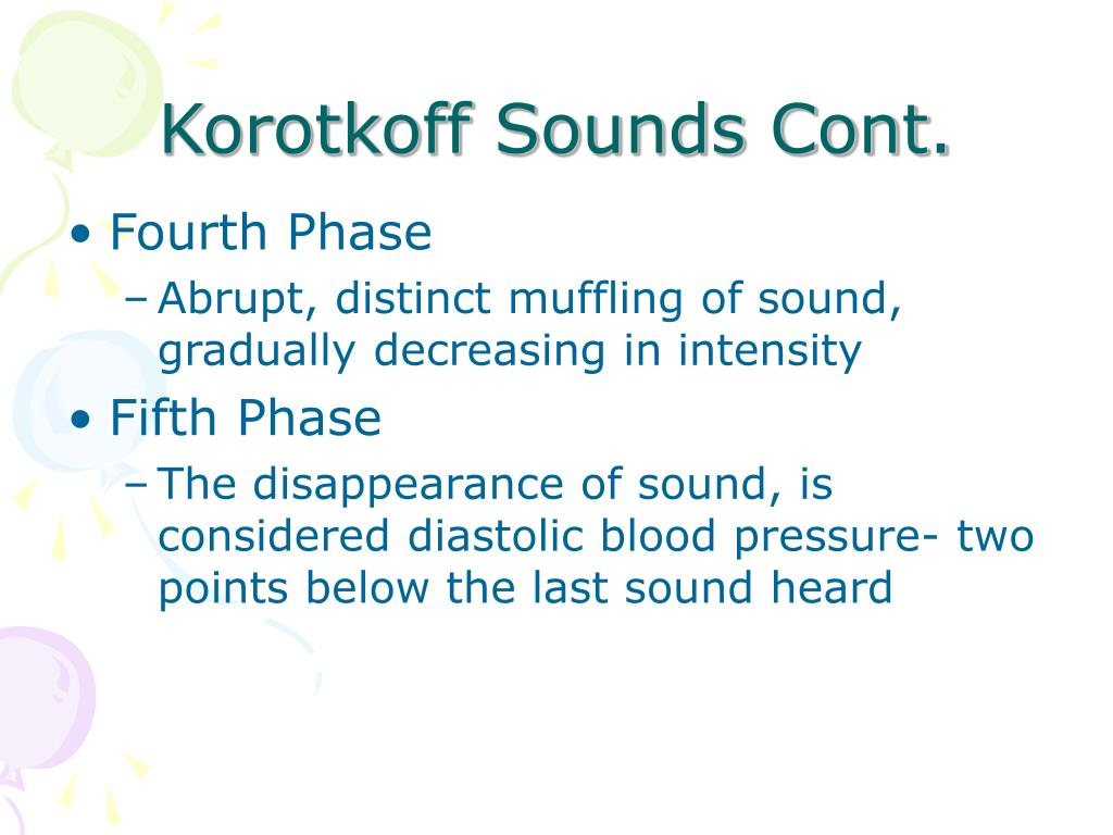 Korotkoff Sounds Cont.