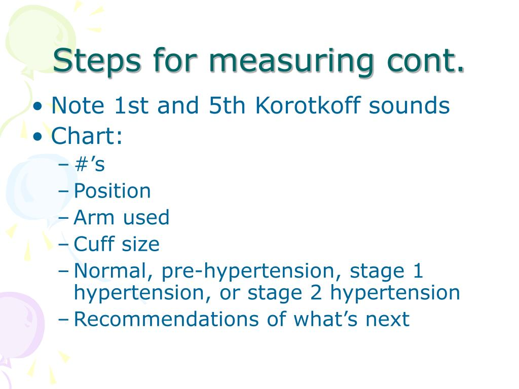 Steps for measuring cont.