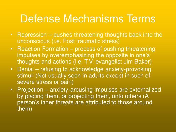 Defense Mechanisms Terms