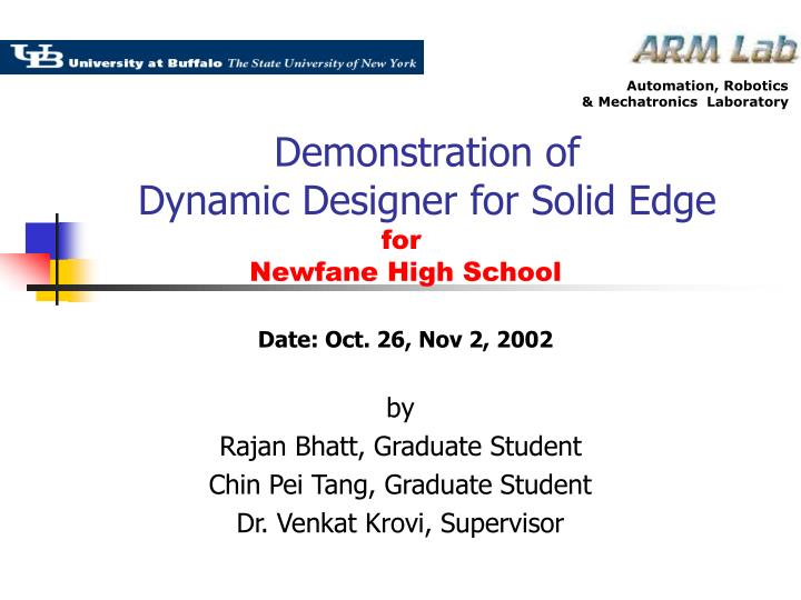 Demonstration of dynamic designer for solid edge