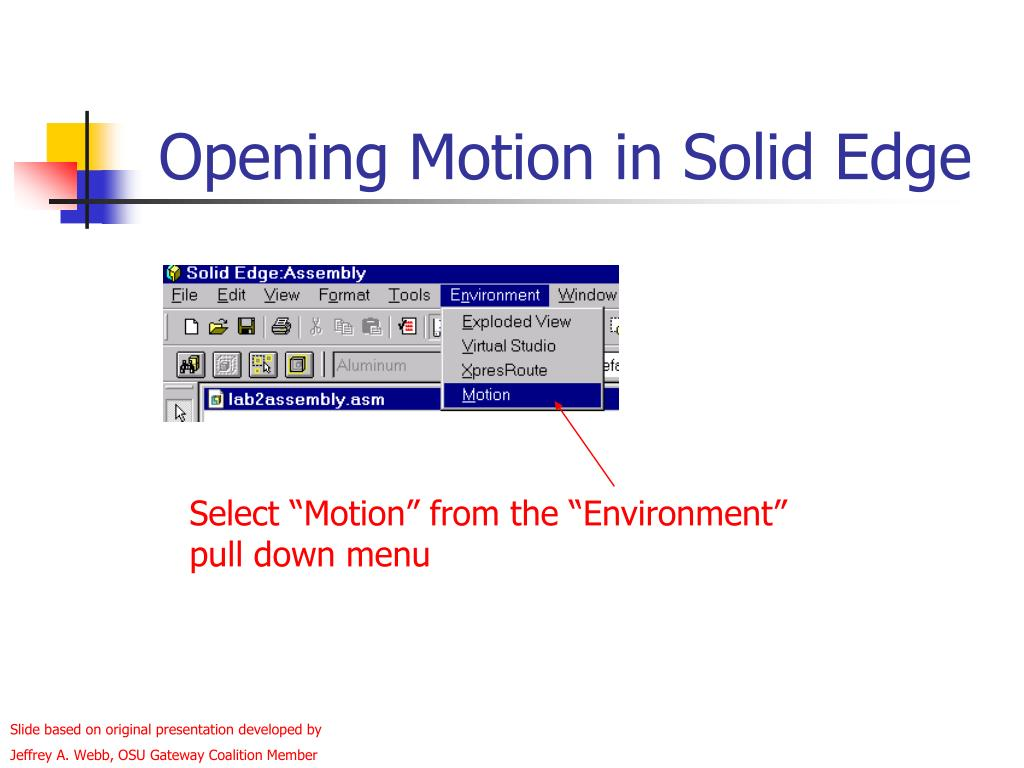 Opening Motion in Solid Edge