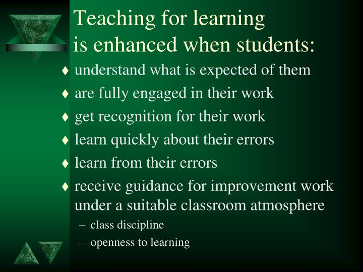 Teaching for learning