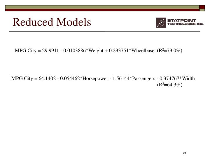 Reduced Models