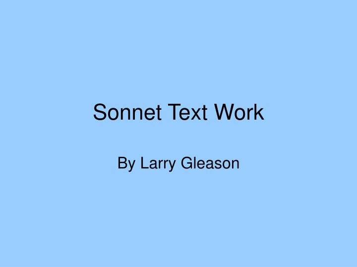 Sonnet text work