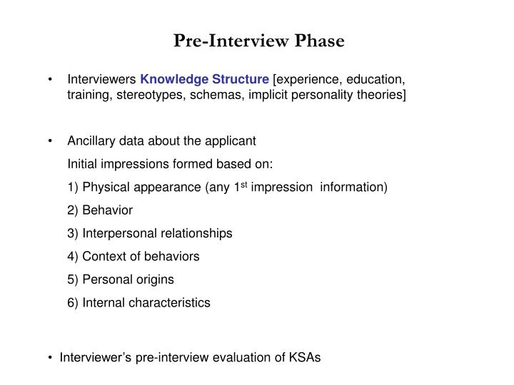 Pre-Interview Phase