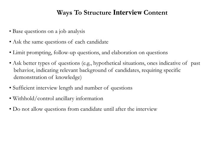 Ways To Structure