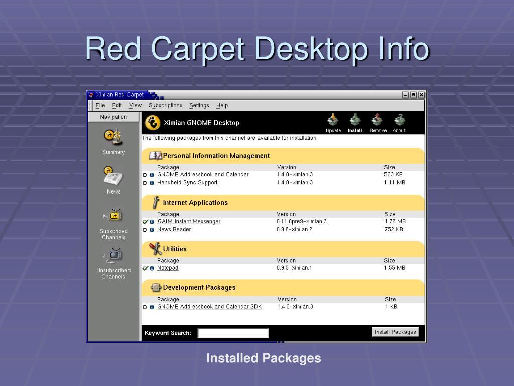 Red Carpet Desktop Info