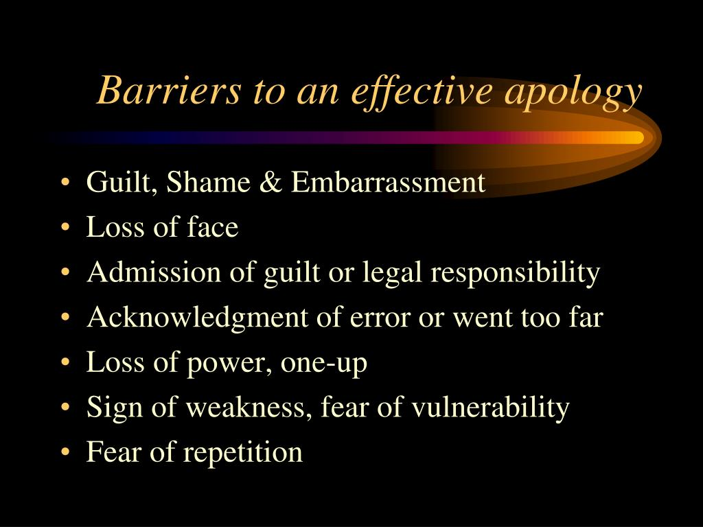 Barriers to an effective apology