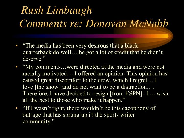 Rush limbaugh comments re donovan mcnabb