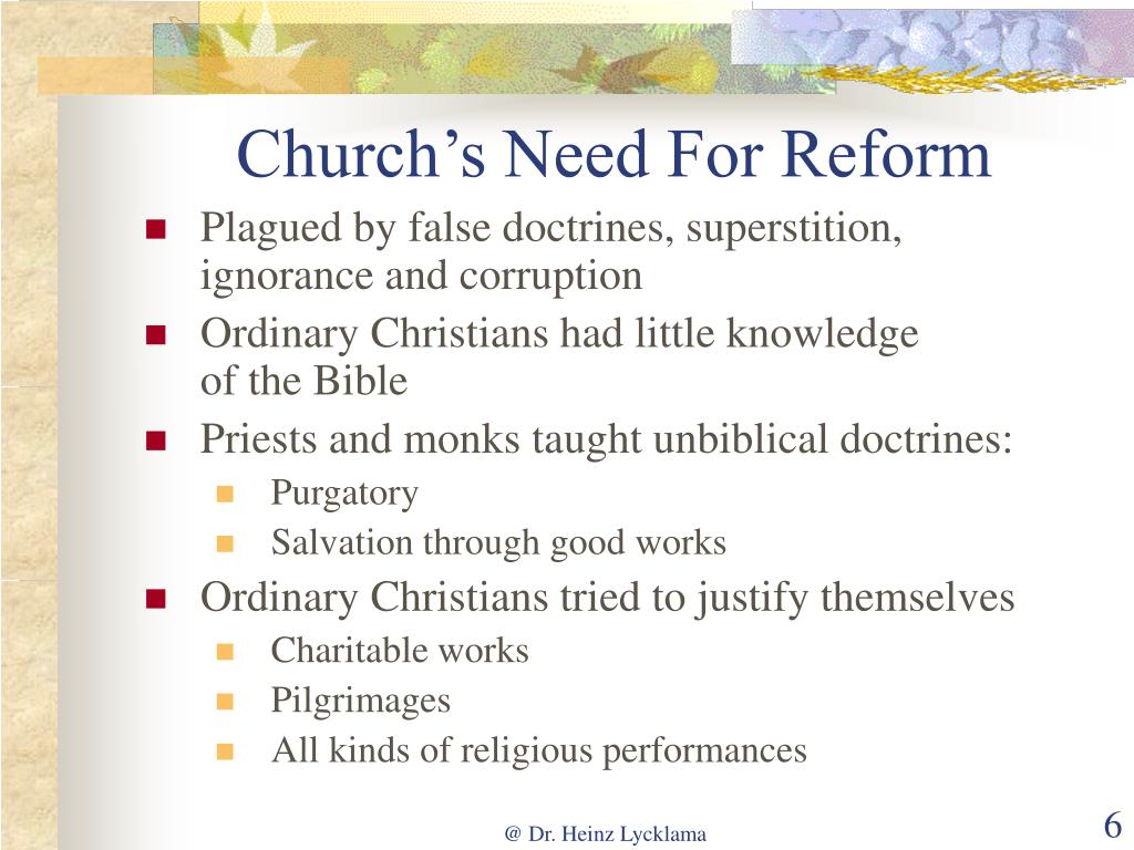 Church's Need For Reform