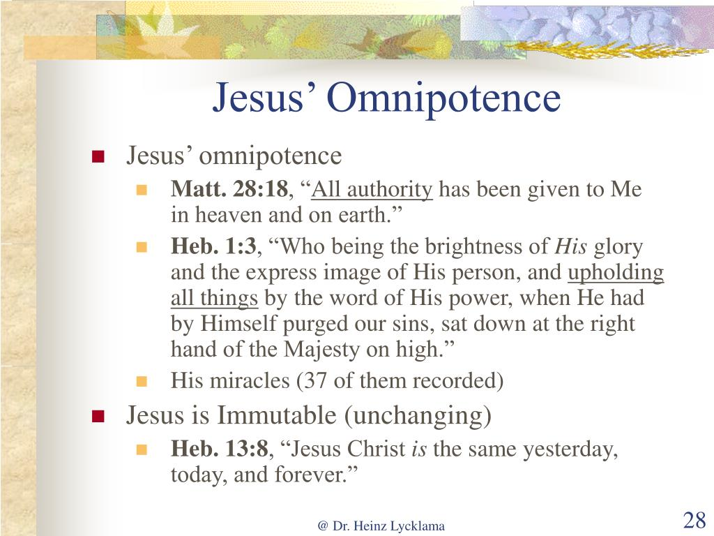 Jesus' Omnipotence