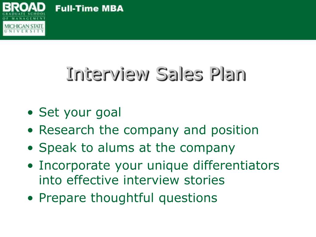 Interview Sales Plan