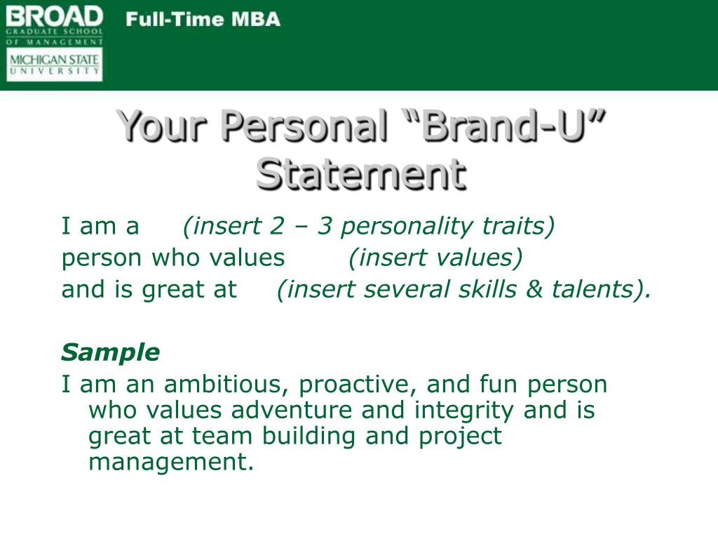"Your Personal ""Brand-U"" Statement"