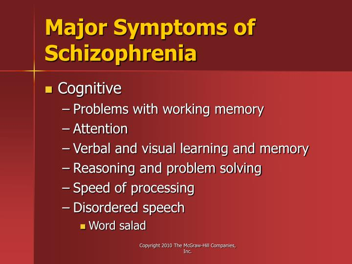 Major Symptoms of Schizophrenia