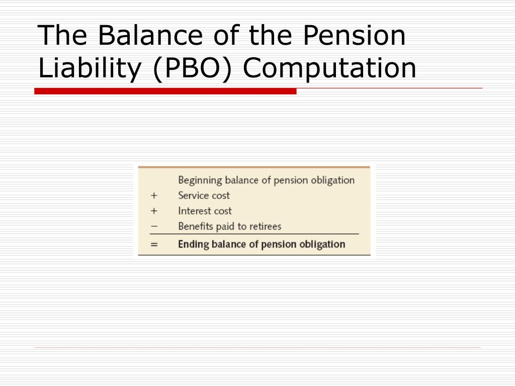 The Balance of the Pension Liability (PBO) Computation