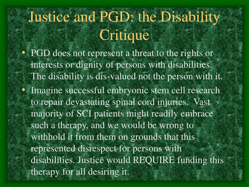 Justice and PGD: the Disability Critique