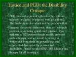 justice and pgd the disability critique