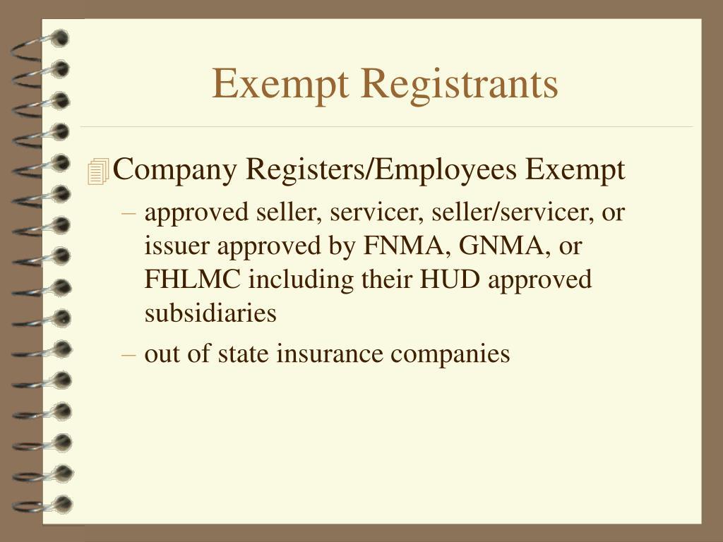 Exempt Registrants