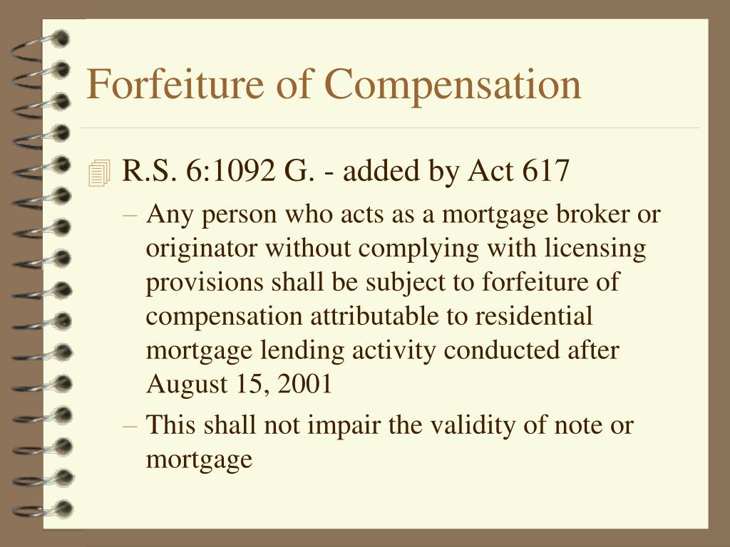 Forfeiture of Compensation
