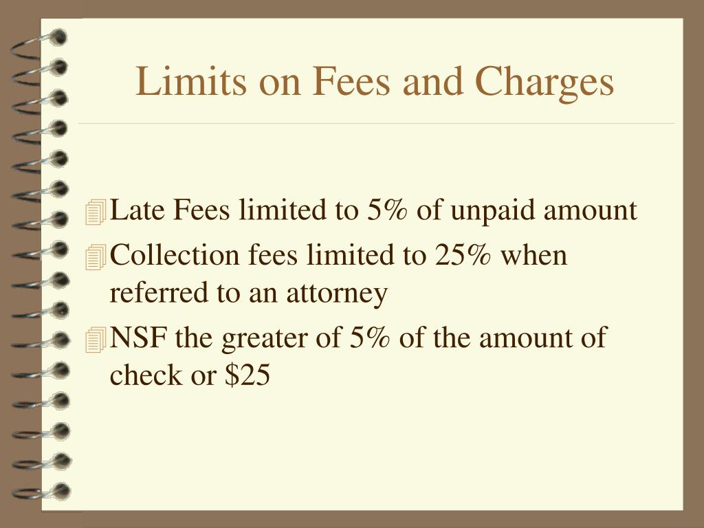 Limits on Fees and Charges