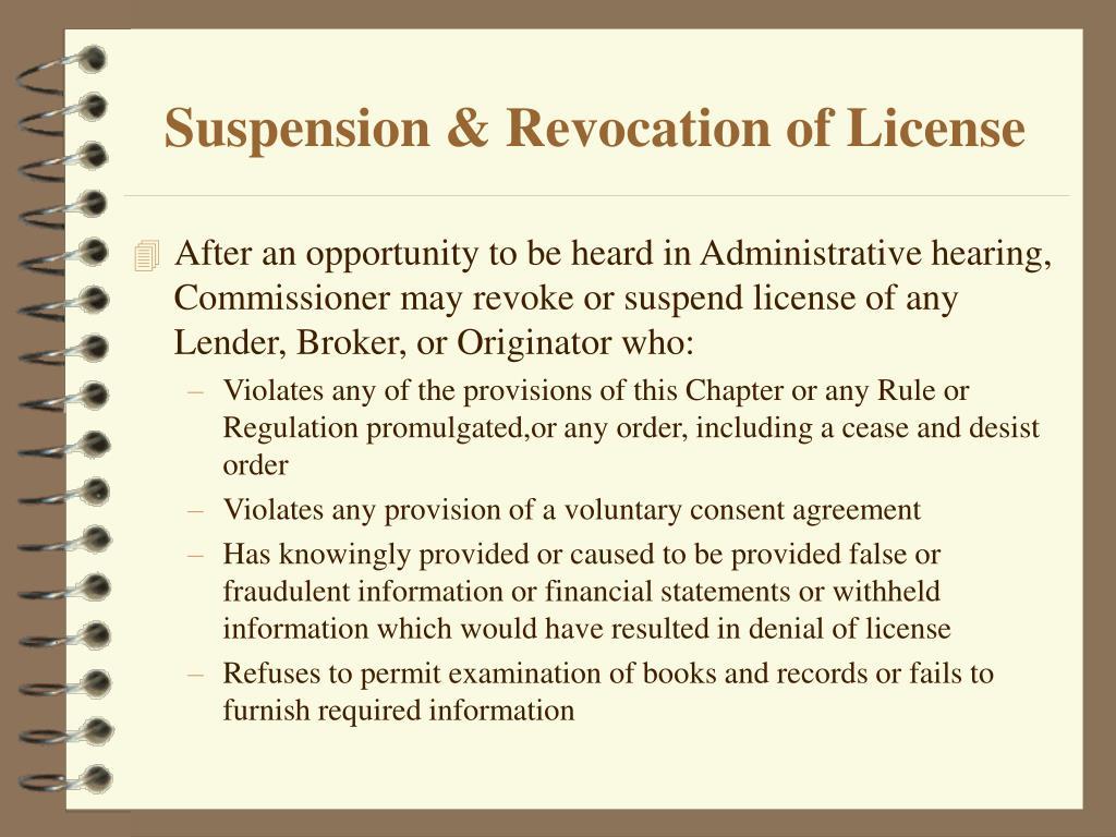 Suspension & Revocation of License