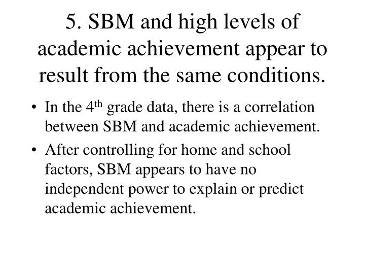 5. SBM and high levels of academic achievement appear to result from the same conditions.