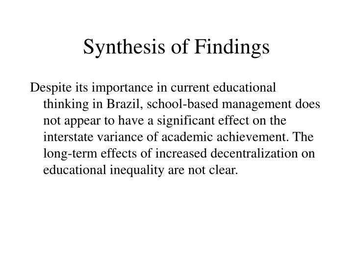 Synthesis of Findings