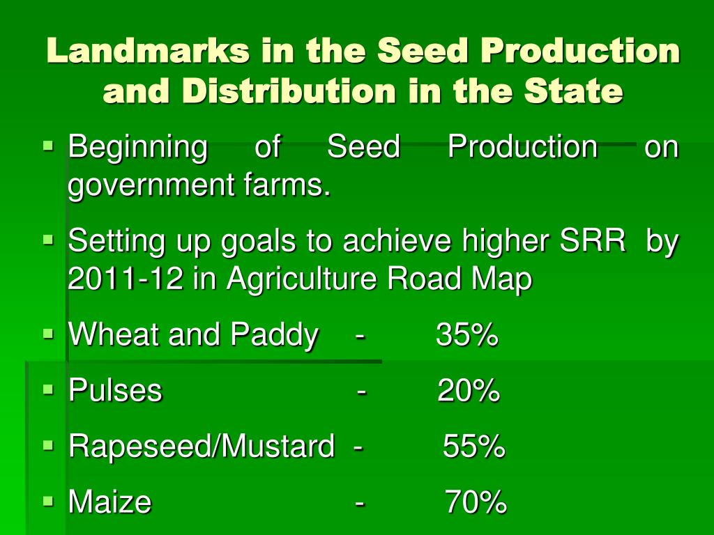 Landmarks in the Seed Production and Distribution in the State