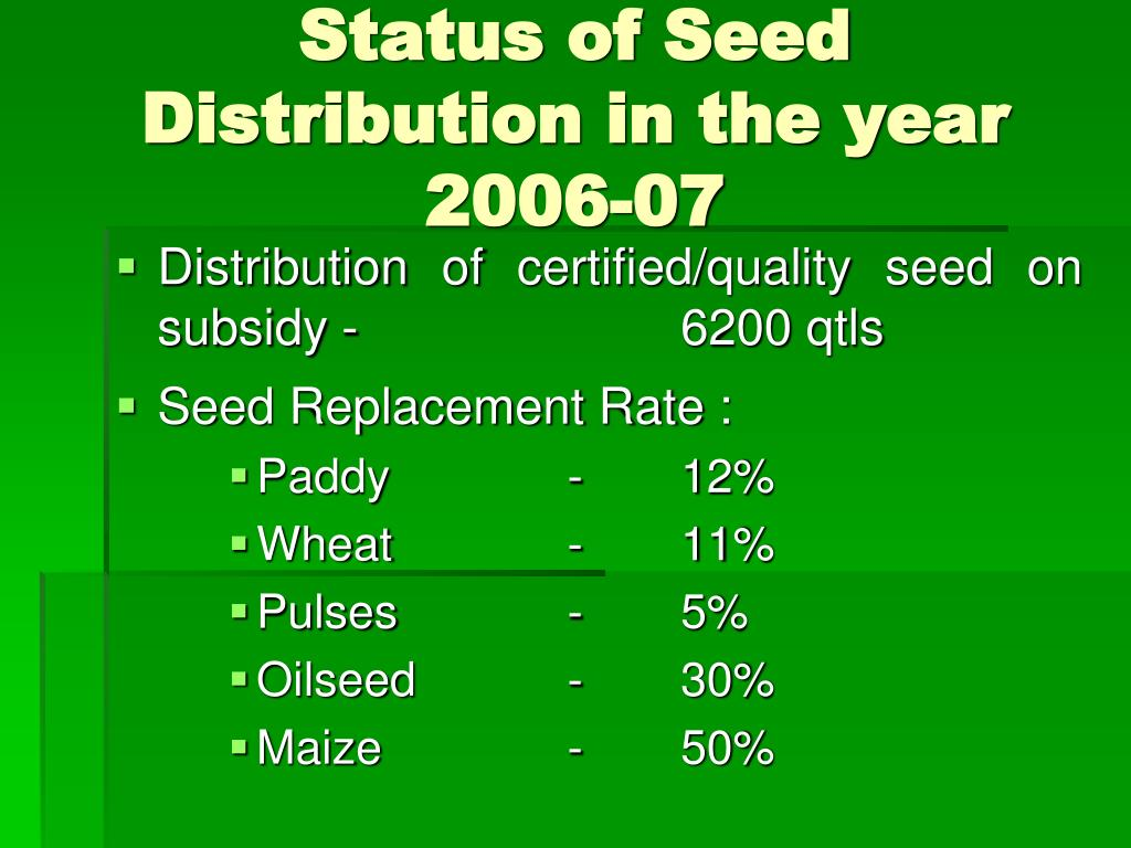 Status of Seed Distribution in the year 2006-07