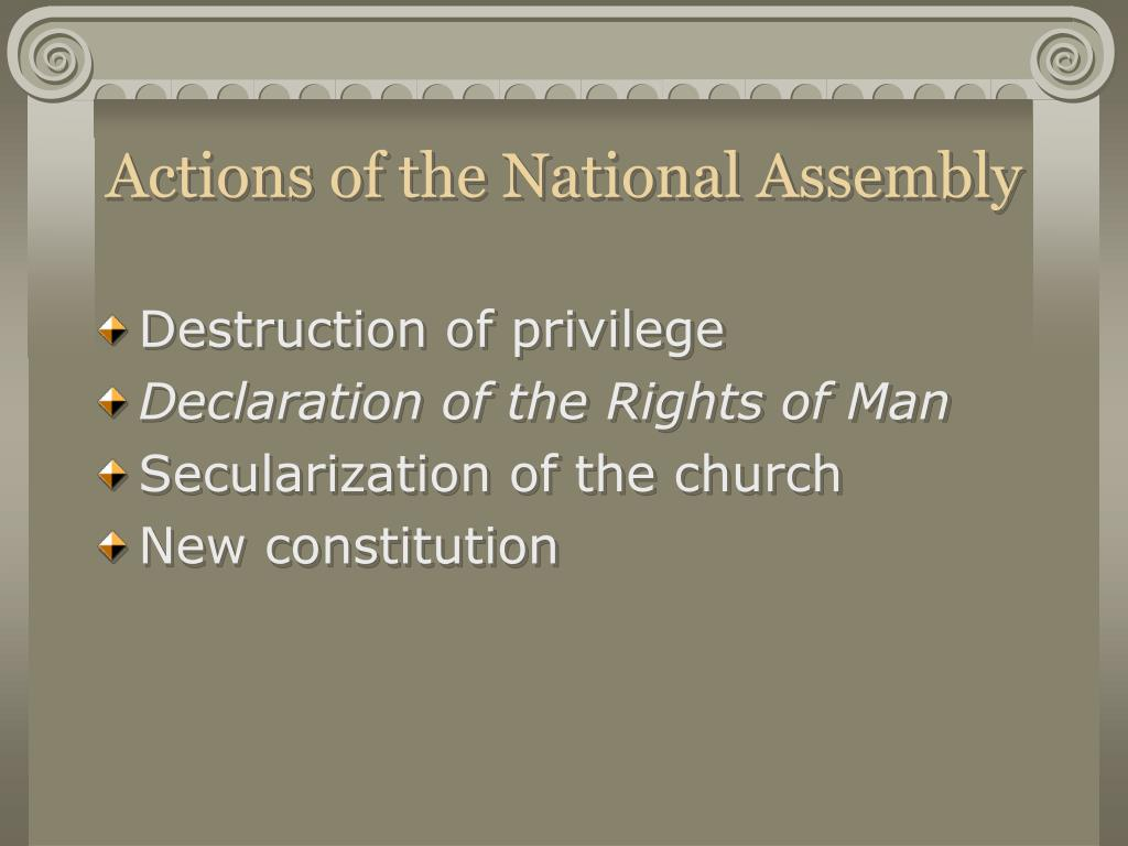 Actions of the National Assembly